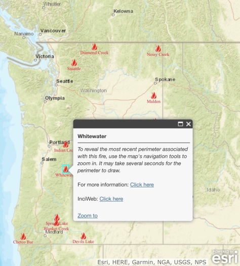 Northwest Fire Locations From The Northwest Interagency Coordination